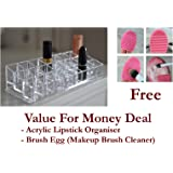 Lifestyle - You 24 Compartment Luxurius Clear Acrylic Makeup Organiser Lipstick Holder Case