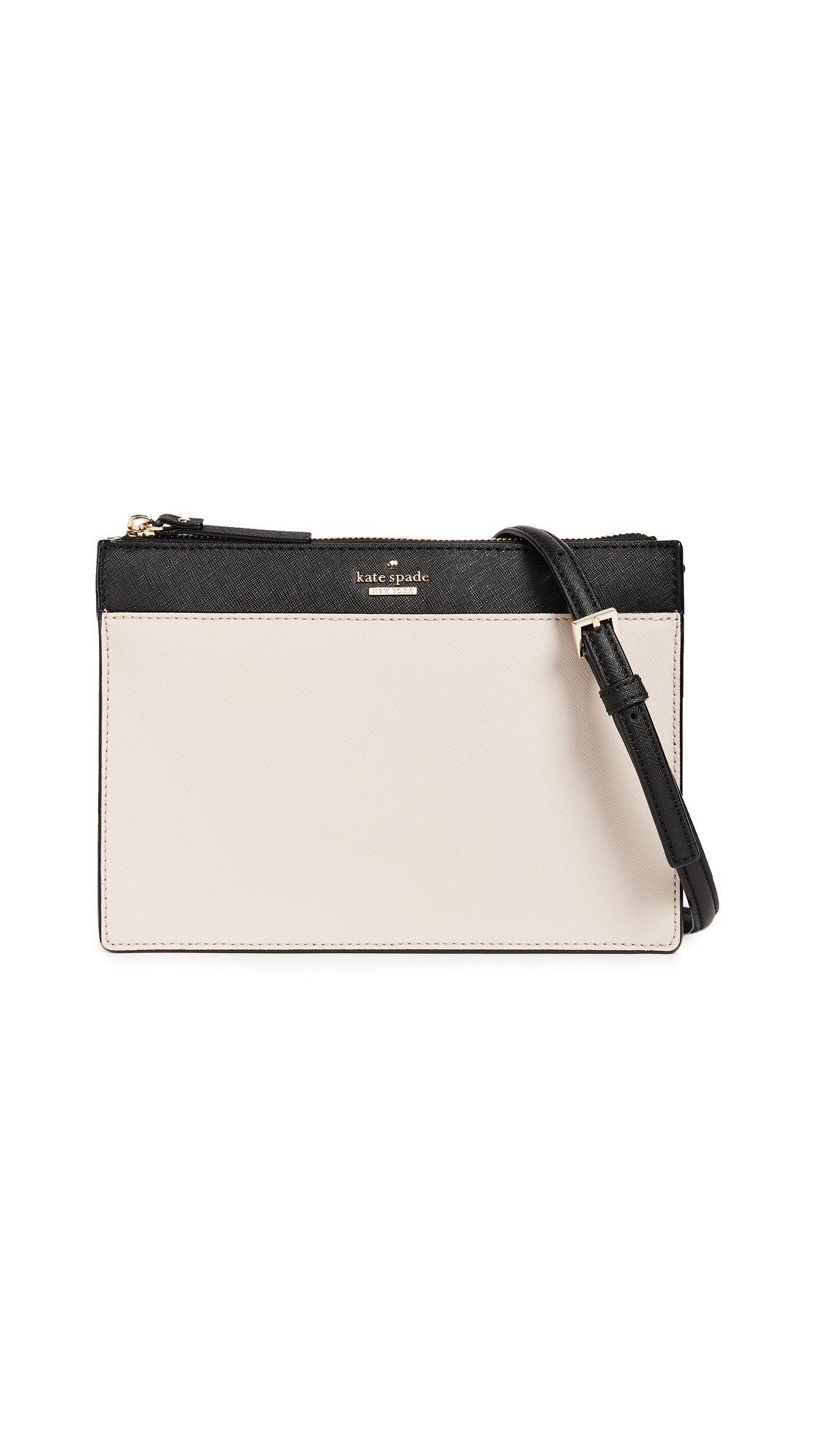 Kate Spade New York Women's Clarise Cross Body Bag, Tusk/Black, One Size