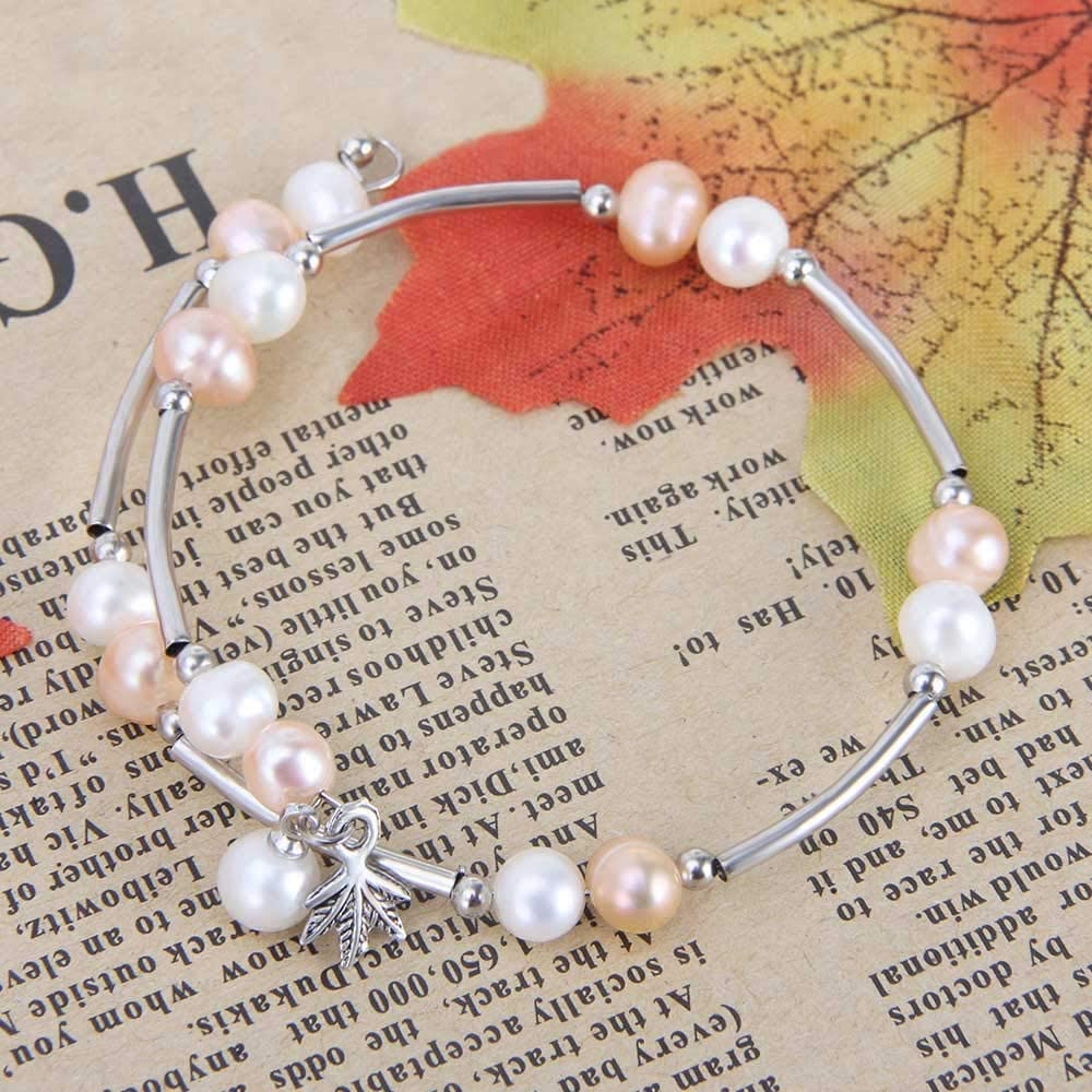 AIM Jewelry Cultured Genuine Freshwater Pearls Bracelet Adjustable Bangle Wrap Bracelet Beaded Pearl Strand Bracelet for Women and Girls in White//Pink//Red Pearl