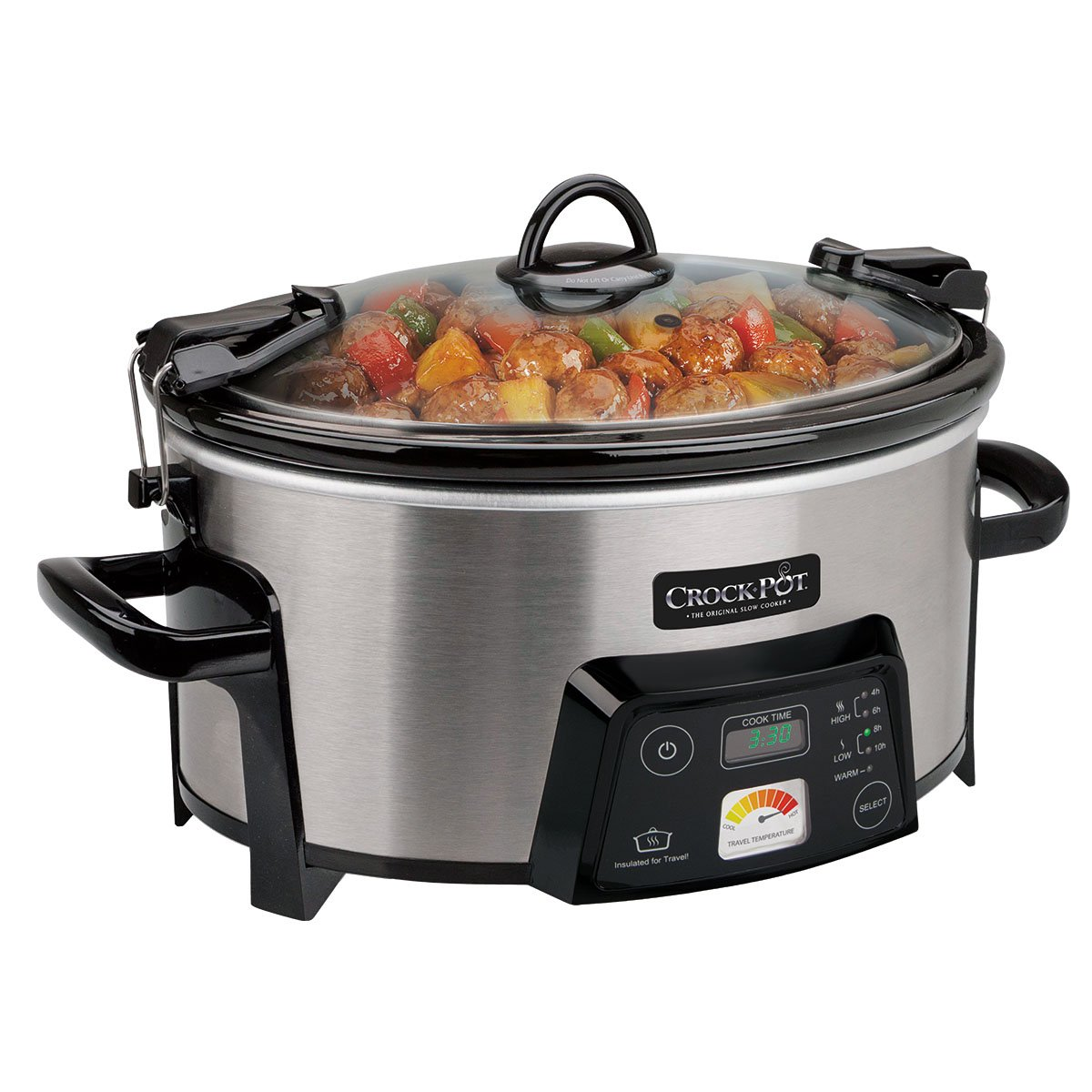 Crock-Pot 6-Quart Cook Carry Digital Slow Cooker with Heat-Saver Stoneware, Brushed Stainless Steel Certified Refurbished