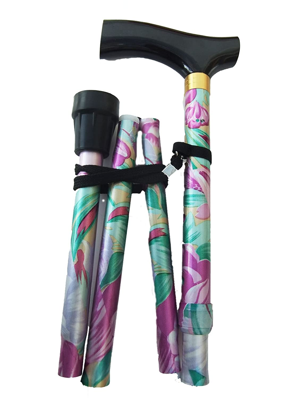 Bastón plegable con altura ajustable, correa de muñeca y virola adicional de regalo, diseño de flores, morado, violeta: Amazon.es: Deportes y aire libre