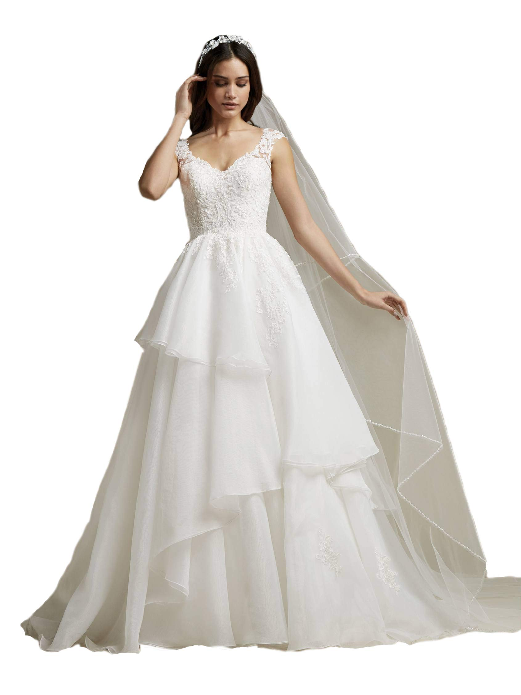 Passat Pale Ivory Single-Tier 3M Cathedral Veil Edged with Clear Beads and Crystals VL-1013 by Passat