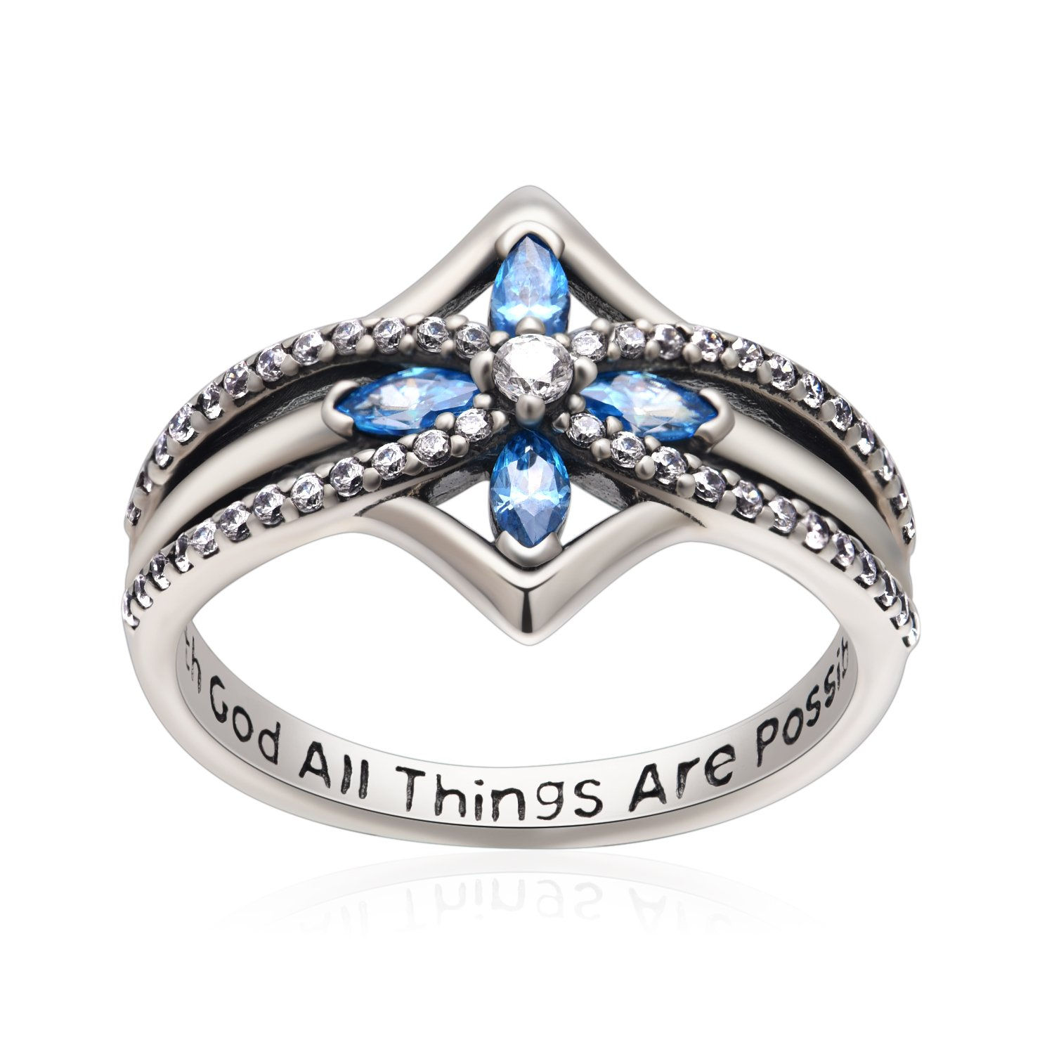 YFN Cross Ring Vintage Tone Sterling Silver with God All Things are Possible CZ Band Rings Size 7-8 (7)