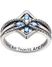 YFN Blue Crystal Cross 925 Sterling Silver with God All Things are Possible CZ Rings Size 6.5