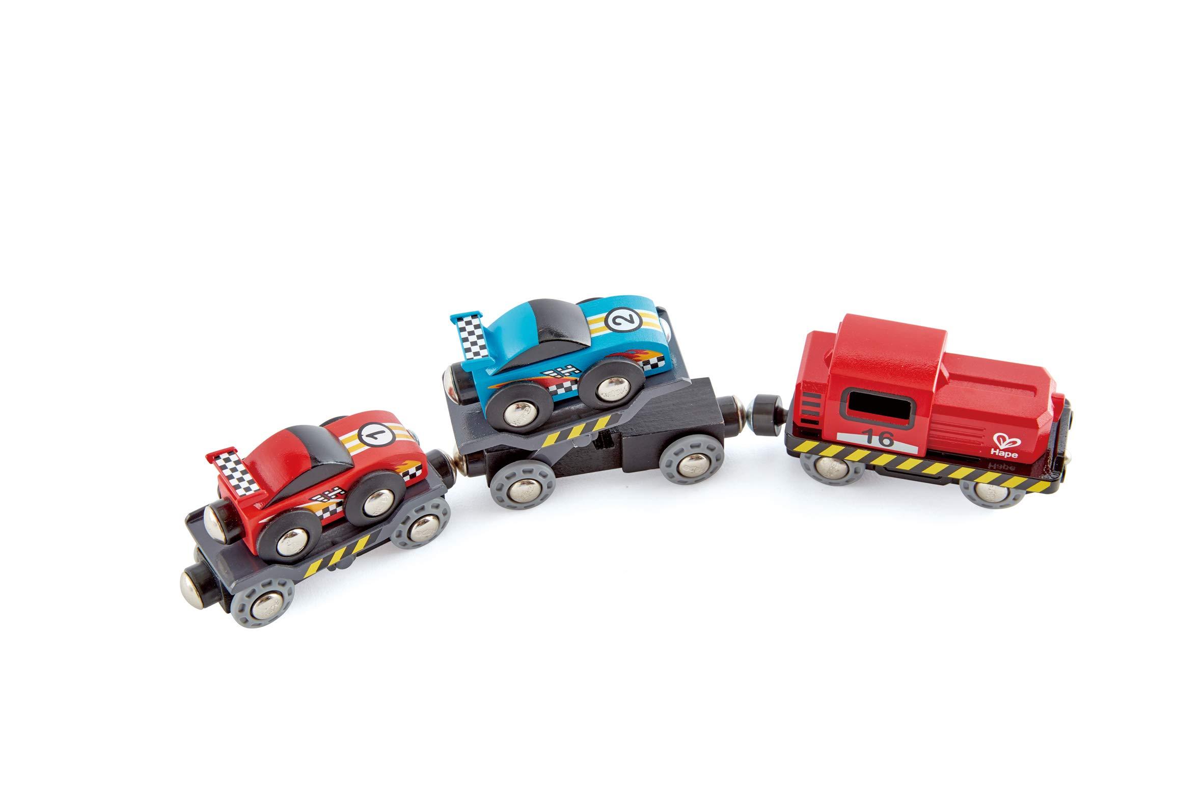 Hape Race Car Transporter | Six-Piece Wooden Toy Train Car Transport Set for Kids by Hape