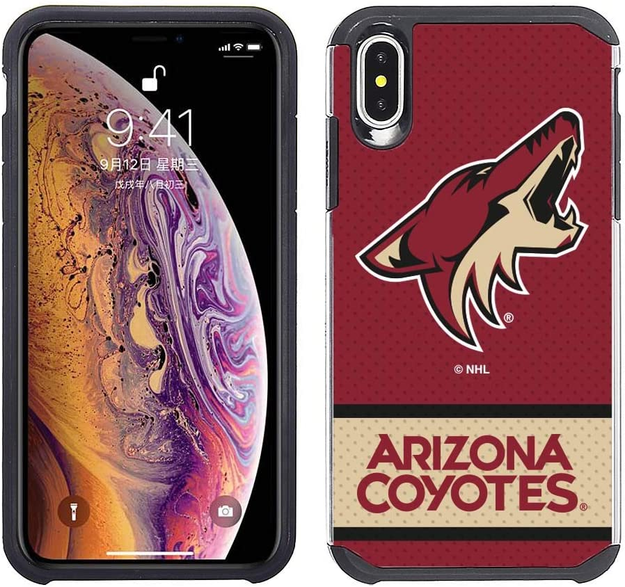 Apple iPhone Xs Max - NHL Licensed Arizona Coyotes Red Jersey Textured Back Cover on Black TPU Skin