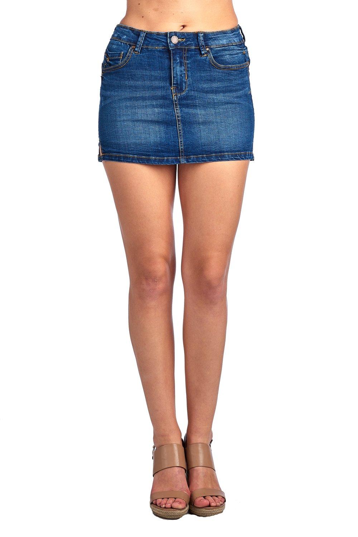 ICONICC Women's European Style Denim Jean Mini Skirt (SS1001_MD_S)