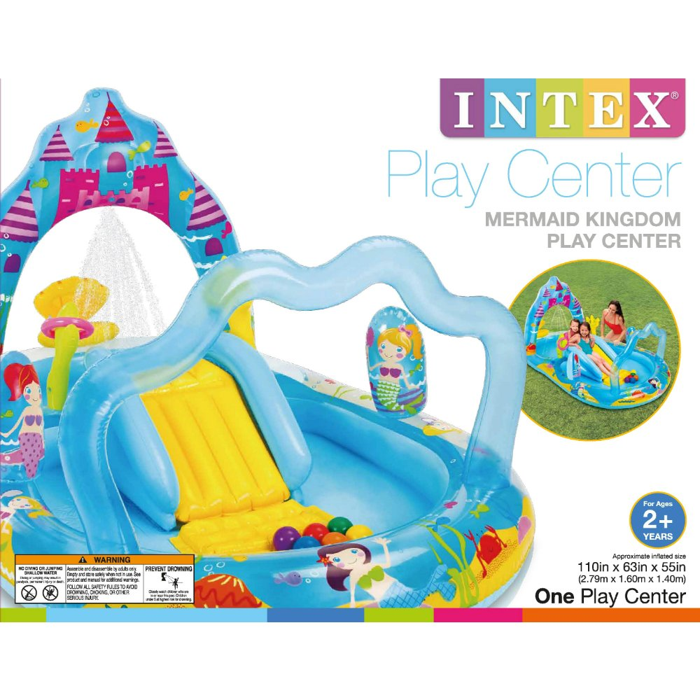 Intex Mermaid Kingdom Inflatable Play Center, 110'' X 63'' X 55'', for Ages 2+ by Intex (Image #1)