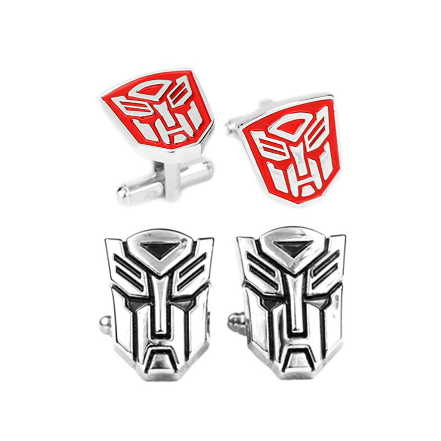 Outlander Gear Transformers 2 Pairs Red & Silver Superhero 2018 Movie Mens Boys Cufflinks