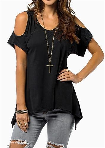 YOGLY Camisetas Mujer Verano Blusas T Shirt Cmisetas con Mangas Cortas de Color Sólido Ocasional Cam...