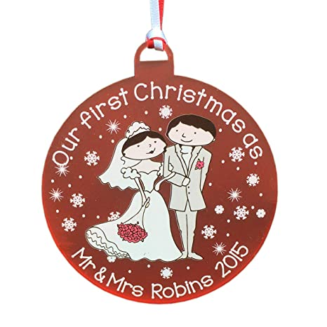 Personalised First Christmas In Our New Home 1st Couples Xmas Tree Gift Plaque