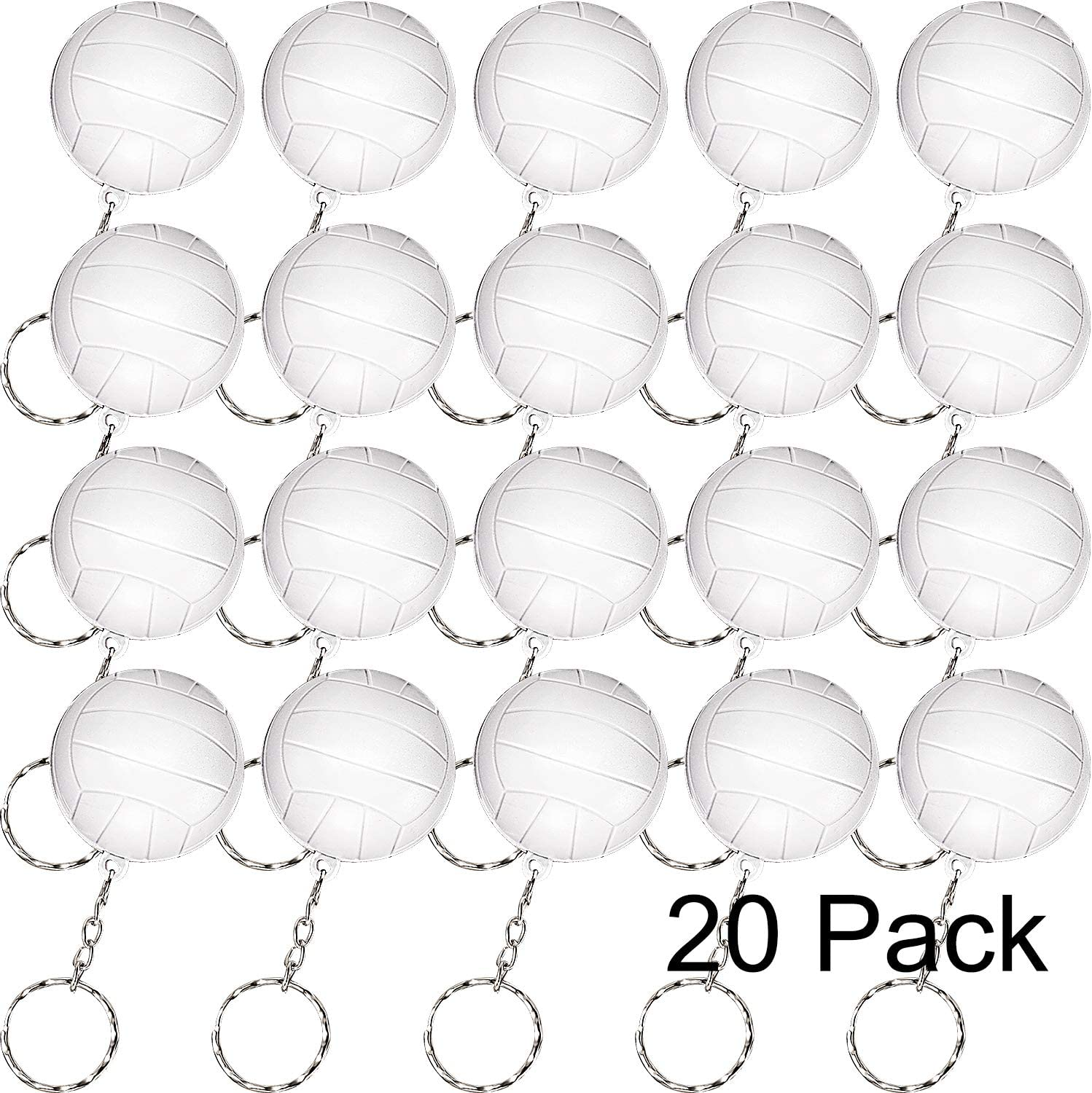 Blulu 20 Pack White Volleyball Keychains for Party Favors, School Carnival Reward, Party Bag Gift Fillers (Volleyball Keychains, 20 Pack)