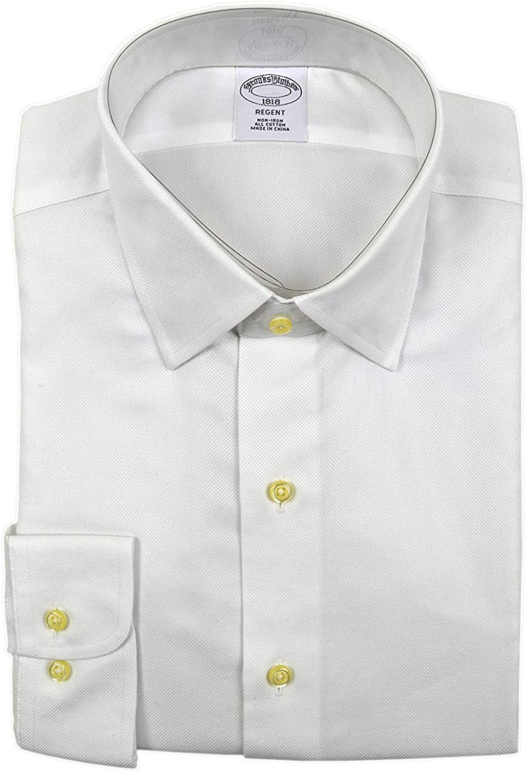 Brooks Brothers Classic Fit 17-37 Non Iron Supima Cotton Solid White Dress Shirt