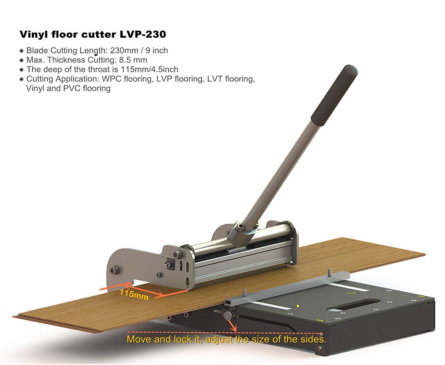 MantisTol 9'' Pro LVT/VCT/LVP/PVC/WPC/Vinyl flooring Cutter LVP-230, best buy! Limited to the floors of the second pic on the left side (Yes)! by MANTISTOL