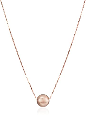 Amazoncom 14k Rose Gold Bead Pendant Necklace 18 Jewelry