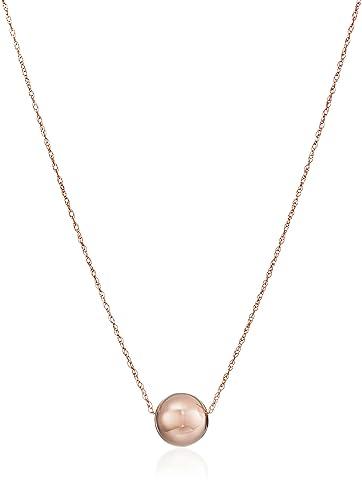 Amazon 14k rose gold bead pendant necklace 18 jewelry 14k rose gold bead pendant necklace 18quot aloadofball Choice Image
