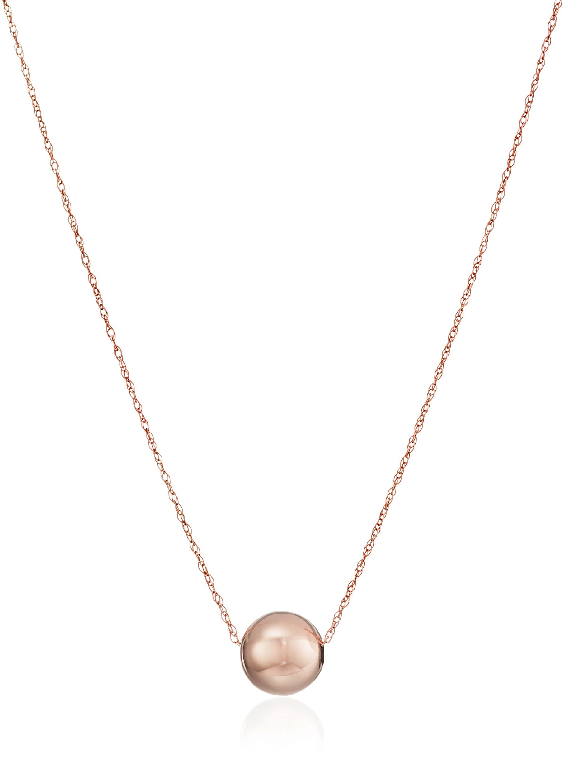 "14k Yellow Gold Bead Pendant Necklace,18"""