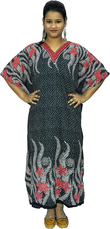 spurbayfashions Women Kaftan Free Size Tunic Kimono Long Dress Maxi Beach Everyday Cover Up Nightwear Black