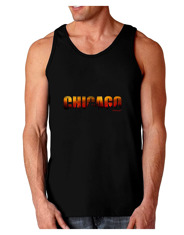 Sunset Sky Dark Loose Tank Top TooLoud Chicago Skyline Cutout