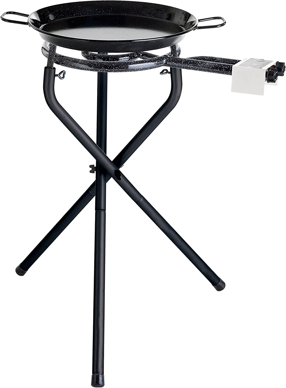 'Portátil Barbacoa Set para Paella de barbacoas de BBQ Vamos con Paella Sartén de acero esmaltado Ø 42cm