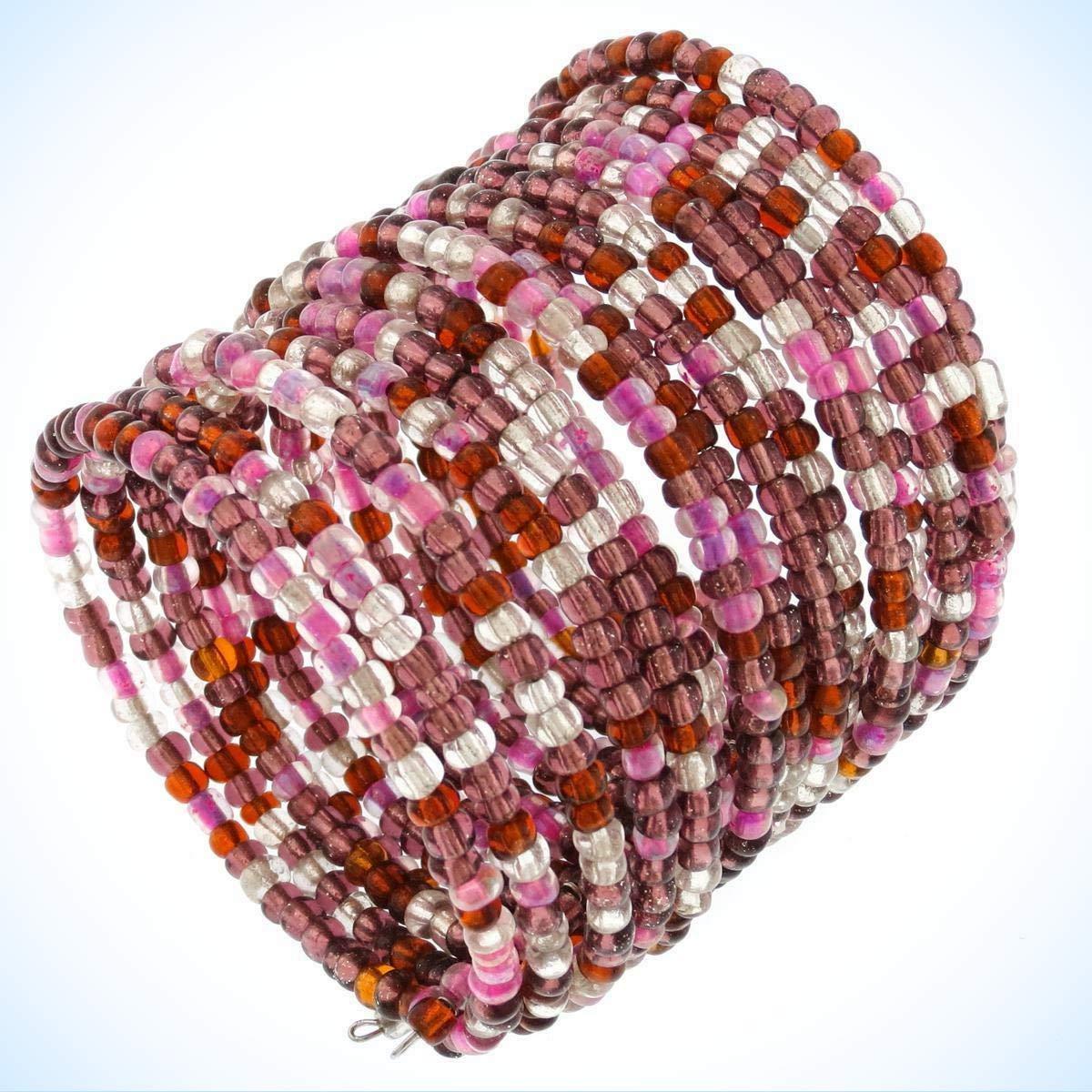 2 1//2 Bronze Purple Seed Beads Wire Bangle Crystal Fashion Jewelry Bracelet