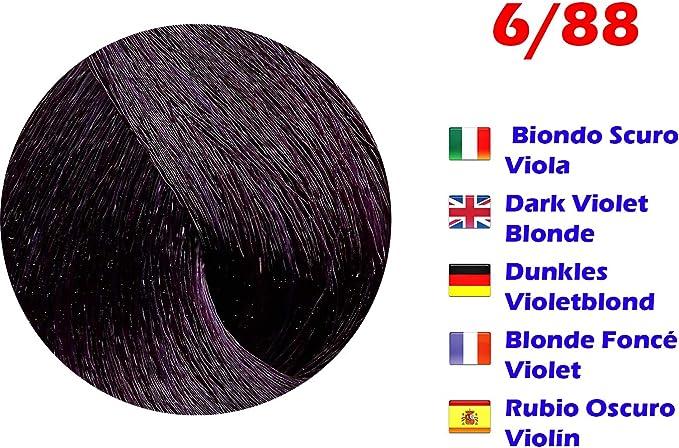 Tinte de Pelo Profesional Rubio Oscuro Violín Extreme con Amoníaco 6/88 Permanente 100ml Made in Italy