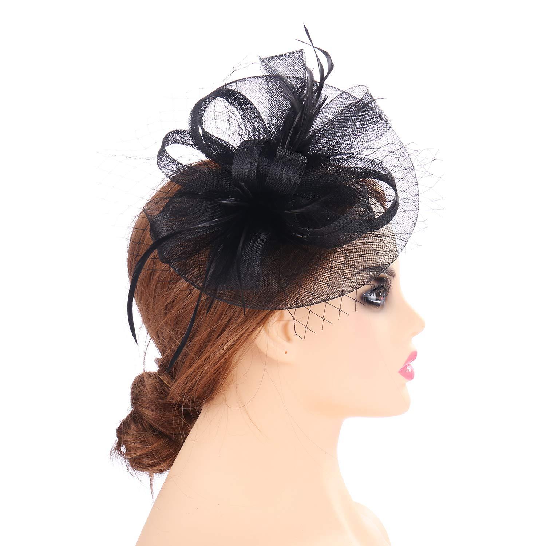 Black80 MYCHARM Women Feather Mesh Net Fascinator Hat Hair Clip Cocktail Derby Race Royal Ascot