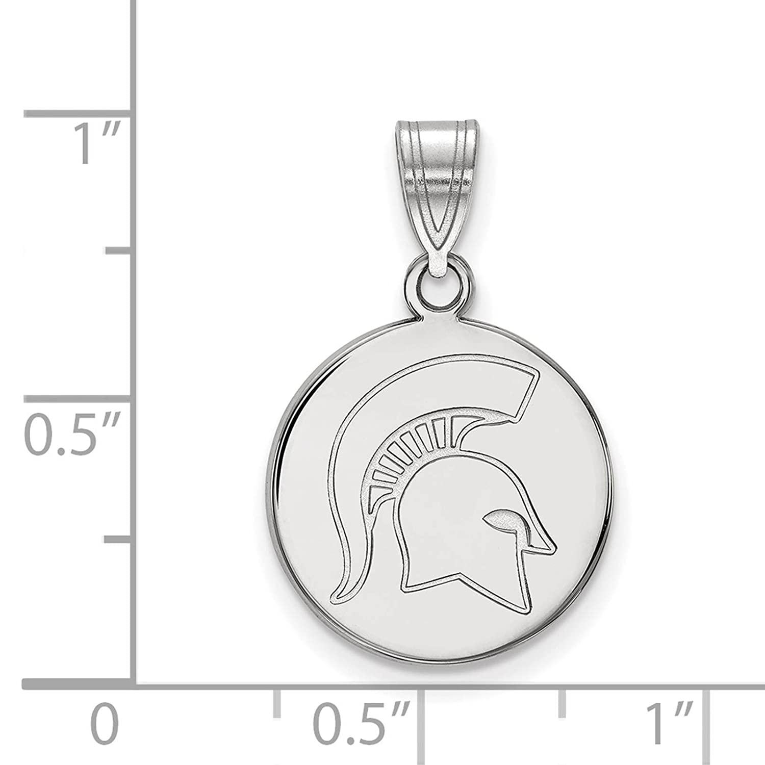 925 Sterling Silver Rhodium-plated Laser-cut Michigan State University Medium Disc Pendant