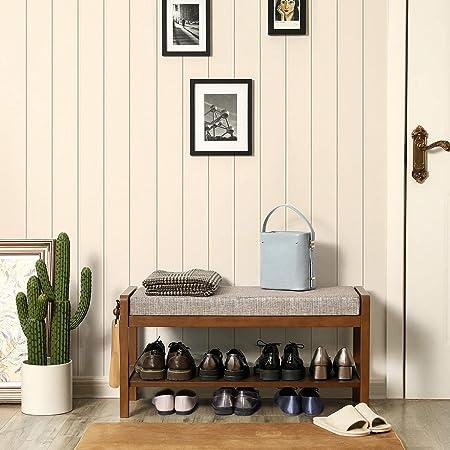 VASAGLE Solid Wood Shoe Bench for 4 Pairs, Upholstered Shoe Rack with Storage Shelf, 1 Hook, Hold 286 lb, Shoe Storage Organizer Bed End Stool for Entryway, Bedroom, Living Room, Saddle Brown URSB02BR