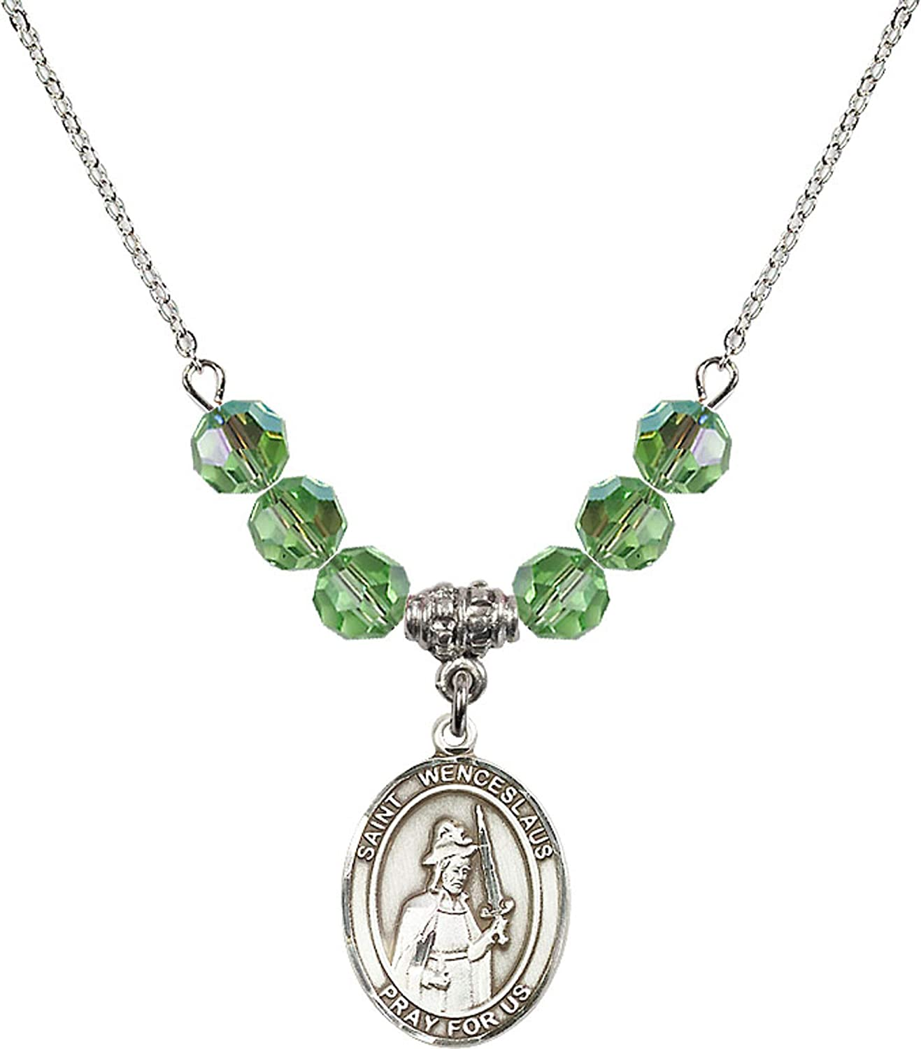 Bonyak Jewelry 18 Inch Rhodium Plated Necklace w// 6mm Green August Birth Month Stone Beads and Saint Wenceslaus Charm