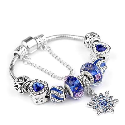 Wolegequ Main Bijoux de mode artisane bijoux pour femmes Les filles le cristal bleu bon cadeau d'anniversaire d'amis bracelet antique ornements argent bracelets en verre à la main