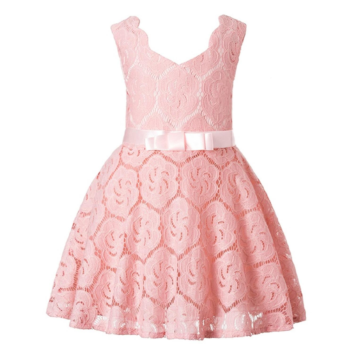 c4ec5f8027b1 SOFYANA Baby - Girl s Polyester Flower lace Kids Frocks Birthday Dress for  Girls Peach Knee Length Frock  Amazon.in  Clothing   Accessories