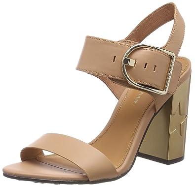1bae98f0 Tommy Hilfiger Women''s Feminine Heel Oversized Buckle Ankle Strap Sandals