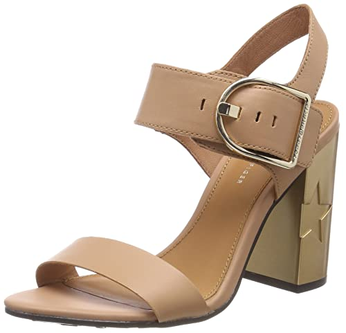 Tommy Hilfiger Feminine Heel Sandalo Oversized Buckle, Sandalo Heel con Cinturino   d90324