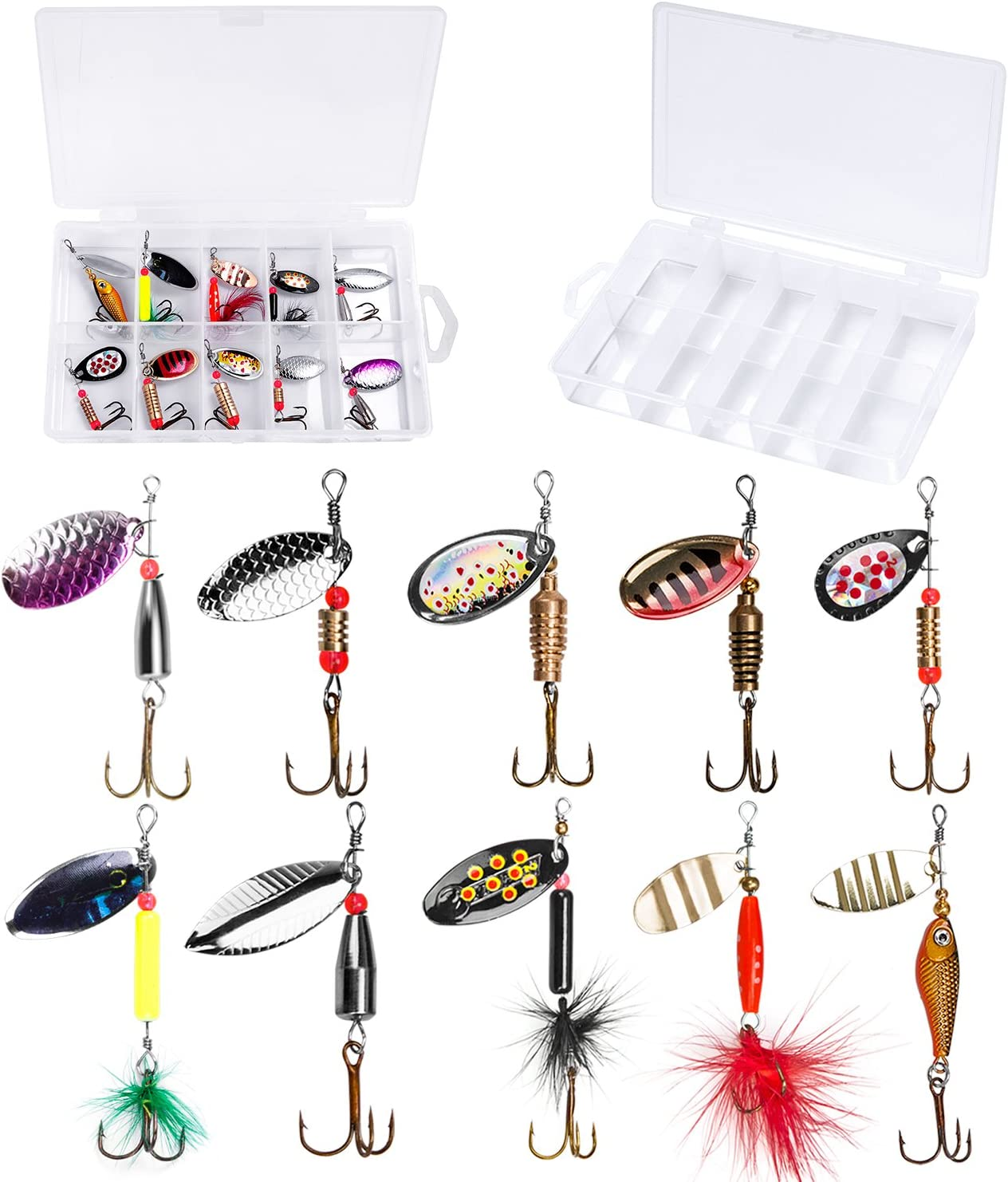 Metal Spoon Fishing Lures Treble Hooks Bass Crankbait Spinner Baits Tackle 7~42g