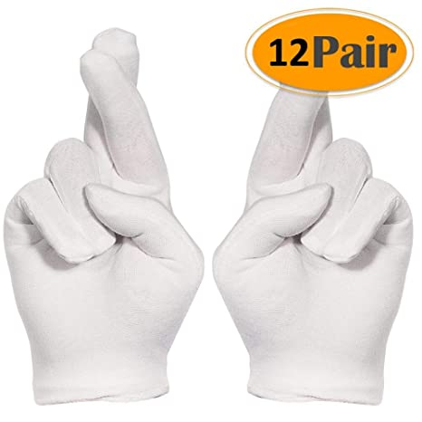 Selizo 12 Pairs White Cotton Gloves For Cosmetic Moisturizing Dry Hands Coin Jewelry Inspection Hand Spa Medium Size 12 Pairs