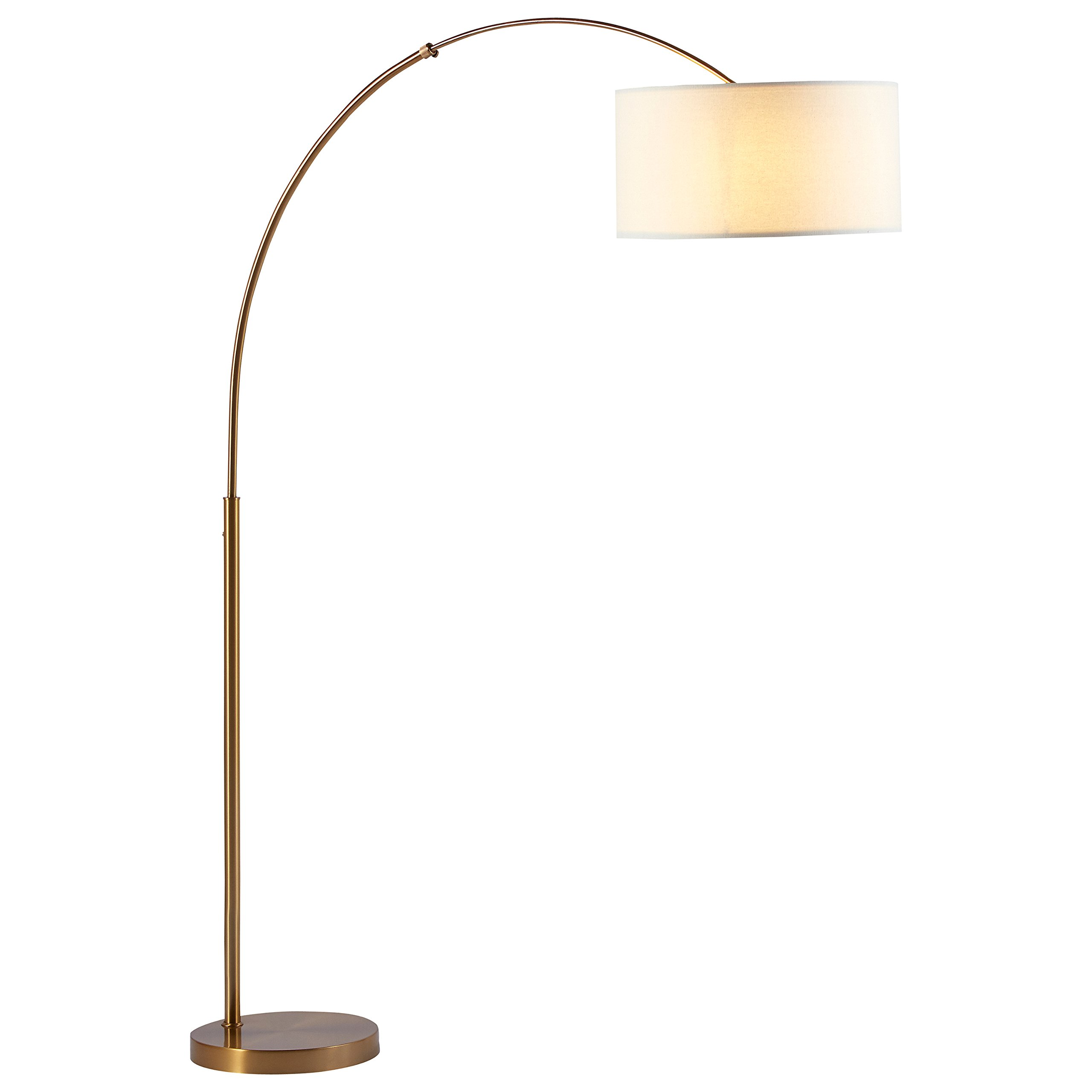 Rivet Brass Arc Floor Lamp, 76''H, With Bulb, Brass with Linen Shade