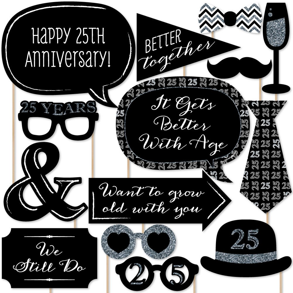 25th Anniversary - Photo Booth Props Kit - 20 Count