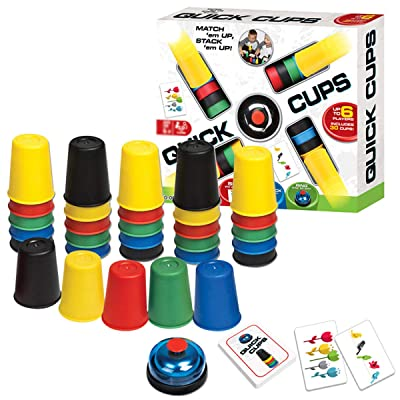 KRISMYA Quick Cups Games for Kids,Classic Speed Cup Game for Parent-Child Interactive Stacking Cups Game with 24 Picture Cards, 30 Cups (6 Sets of 5 Colors Each), Bell &Instructions: Toys & Games