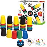 KRISMYA Quick Cups Games for Kids,Classic Speed Cup Game for Parent-Child Interactive Stacking Cups Game with 24 Picture Cards, 30 Cups (6 Sets of 5 Colors Each), Bell &Instructions