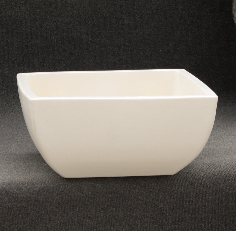 Keramik Pflanzschale Grabschale Deko-Schale quadratisch frostfest Größe 50 x 50 x 21 cm, Farbe weiß, Form 220.050.04 mit Bodenloch - Qualität von Hentschke Keramik