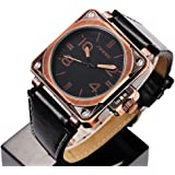 SINOBI Motor Military Sport Man Square Leather Watches, Quartz Hombre Alloy Brass Campaign Wrist Watches