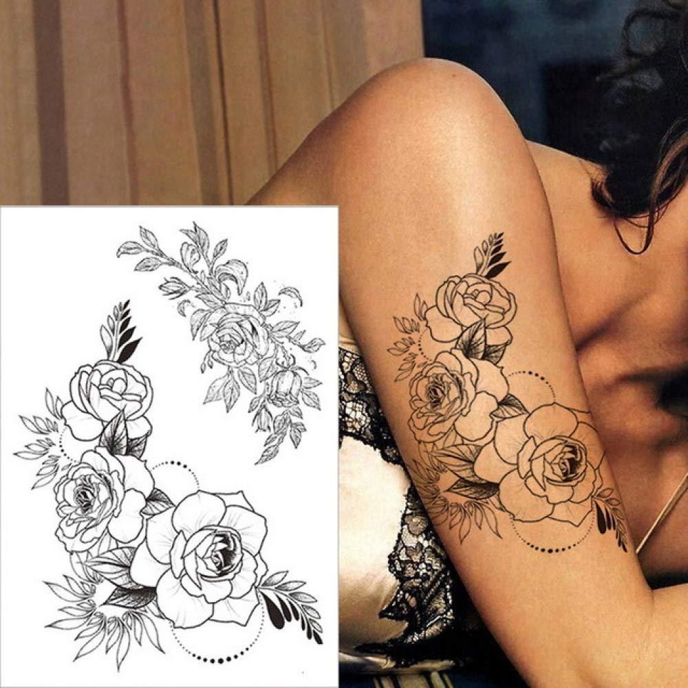3ps-Sketch flor tatuaje pegatina tatuaje negro cuerpo femenino ...