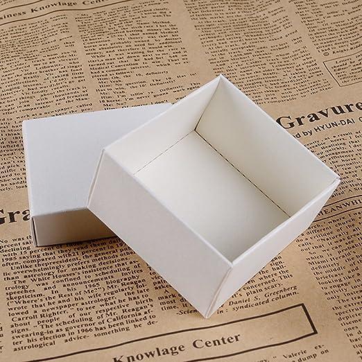 25pcs Cajas de Dulce Regalo Caso de Pendiente Anillo Exhibición Joyería Papel Cuadrados Decoración para Boda Fiesta - Blanco: Amazon.es: Hogar