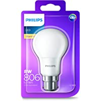 Philips LED Light Bulb (B22 Bayonet Cap 8.0W A60) - Warm White