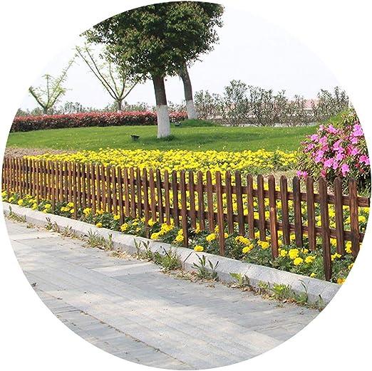 ZHANWEI Valla de jardín Bordura de jardín 2 Paquetes Carbonización Madera Maciza Al Aire Libre Jardinería Decorativo Césped Barandilla Protectora, 2 Colores (Color : Brown, Size : 90x73cm): Amazon.es: Jardín