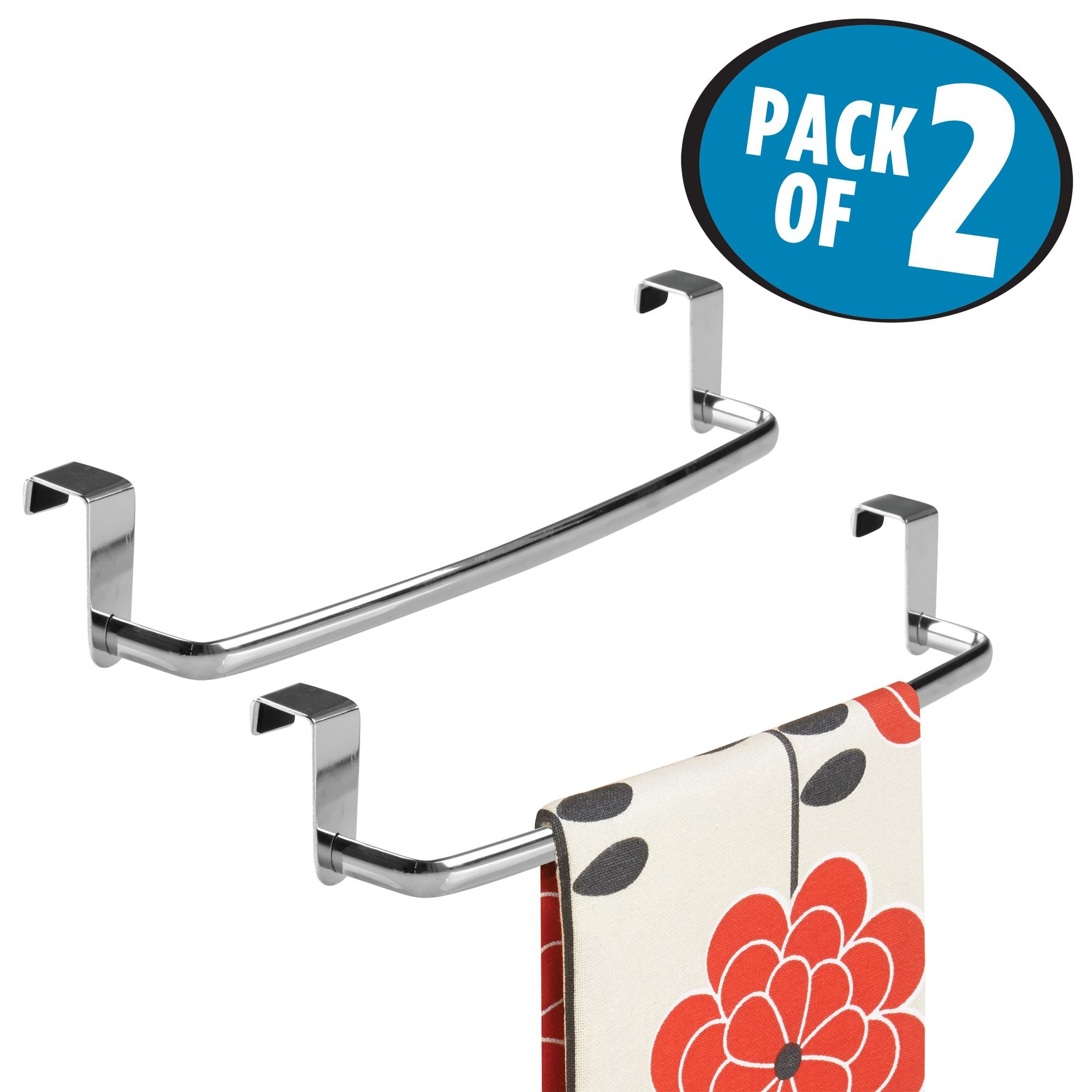 mDesign Kitchen Storage Over Cabinet Curved Steel Towel Bar - Hang on Inside or Outside of Doors, for Organizing and Hanging Hand, Dish, and Tea Towels - 14'' Wide, Pack of 2, Polished Chrome Finish