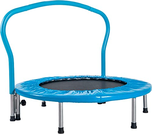 Merax 36 Kids Trampoline with Handrail Mini Toddler Trampoline with Safety Padded Cover for Indoor Outdoor Cardio Exercise Blue
