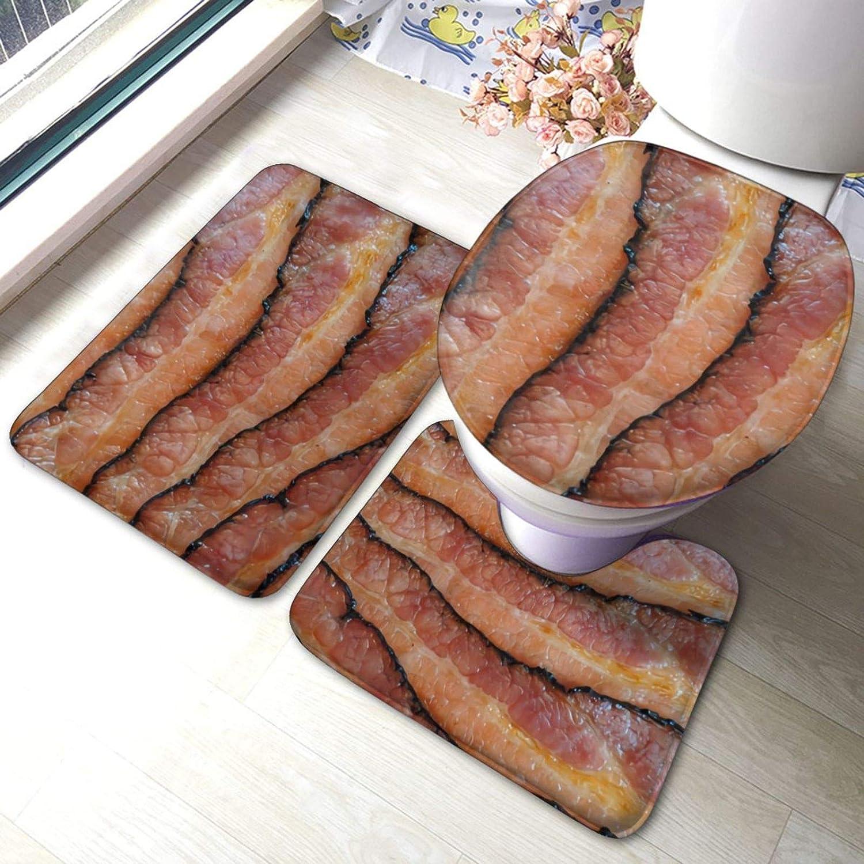 LONEA Bacon Delicious Food 3 Piece Set Bath Mat Set, Non-Slip Bathroom Mats U Shaped Contour Rug Toilet Lid Cover Mat Washable Floor Carpet Shower Tub Bathroom Accessories Decor
