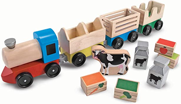 Melissa Doug Wooden Farm Train Toy Set 3 Linking Cars Great Gift For Girls And Boys Best For 3 4 5 Year Olds And Up